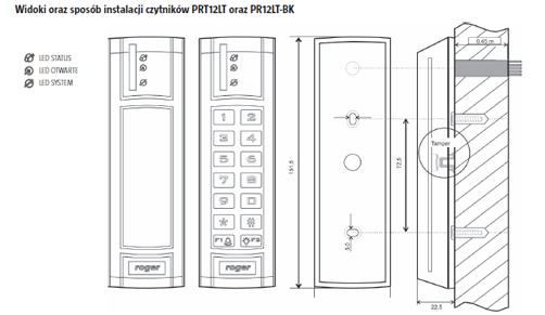 Czytnik zbliżeniowy ROGER PRT12LT-BK-G - Seria PRTxxLT